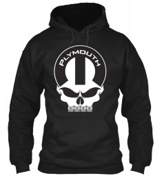 Plymouth Mopar Skull Black Gildan 8oz Heavy Blend Hoodie $38.99