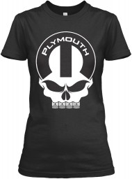 Plymouth Mopar Skull Black Gildan Women's Relaxed Tee $21.99