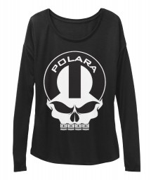 Polara Mopar Skull Black BELLA+CANVAS Women's  Flowy Long Sleeve Tee $43.99