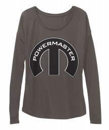 Powermaster Mopar M Dark Grey Heather BELLA+CANVAS Women's  Flowy Long Sleeve Tee $43.99