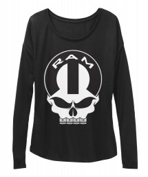 Ram Mopar Skull Black BELLA+CANVAS Women's  Flowy Long Sleeve Tee $43.99