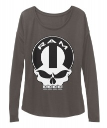 Ram Mopar Skull Dark Grey Heather  Women's  Flowy Long Sleeve Tee $43.99