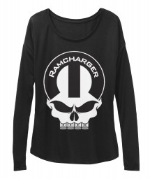 Ramcharger Mopar Skull Black BELLA+CANVAS Women's  Flowy Long Sleeve Tee $43.99