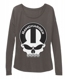 Ramcharger Mopar Skull Dark Grey Heather BELLA+CANVAS Women's  Flowy Long Sleeve Tee $43.99