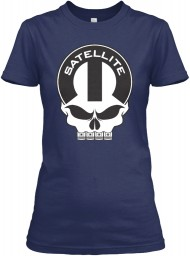 Satellite Mopar Skull Navy Gildan Women's Relaxed Tee $21.99