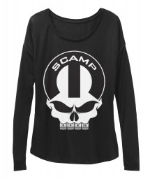 Scamp Mopar Skull Black BELLA+CANVAS Women's  Flowy Long Sleeve Tee $43.99