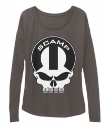 Scamp Mopar Skull Dark Grey Heather BELLA+CANVAS Women's  Flowy Long Sleeve Tee $43.99