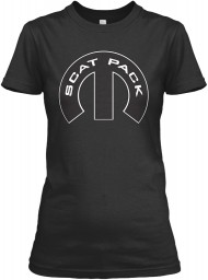 Scat Pack Mopar M Black Gildan Women's Relaxed Tee $21.99