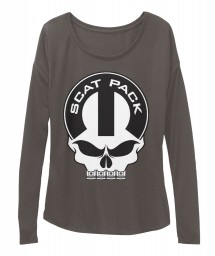 Scat Pack Mopar Skull Dark Grey Heather BELLA+CANVAS Women's  Flowy Long Sleeve Tee $43.99