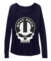 Scat Pack Mopar Skull Midnight  Women's  Flowy Long Sleeve Tee $43.99