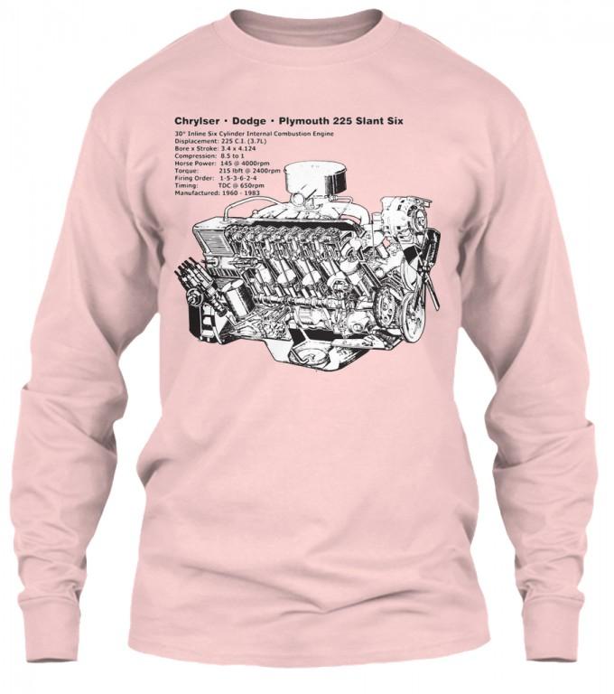 Slant Six 225 Cutaway Light Pink Gildan 6 1oz Long Sleeve Tee
