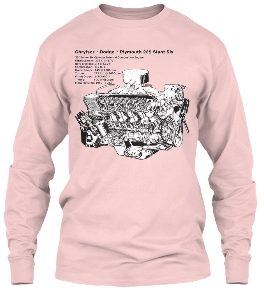 Slant Six 225 Cutaway Light Pink Gildan 61oz Long Sleeve Tee Firing Order 3 6 Dodge