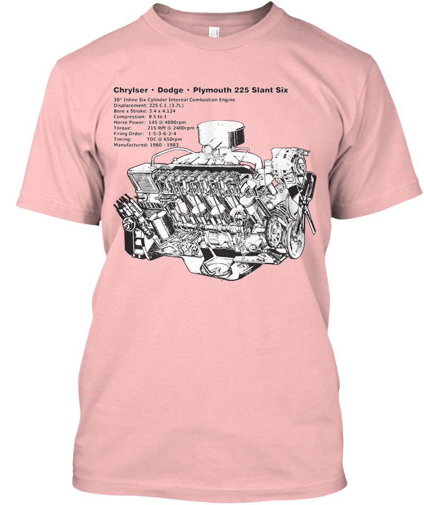 Slant Six 225 Cutaway Pale Pink Hanes Tagless Tee Firing Order 3 6 Dodge