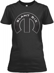 Slant Six Mopar M Black Gildan Women's Relaxed Tee $21.99