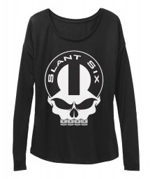 Slant Six Mopar Skull Black BELLA+CANVAS Women's  Flowy Long Sleeve Tee $43.99