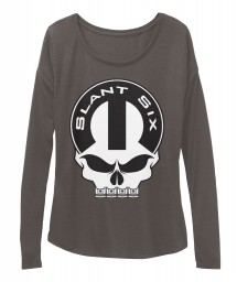 Slant Six Mopar Skull Dark Grey Heather BELLA+CANVAS Women's  Flowy Long Sleeve Tee $43.99
