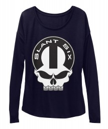 Slant Six Mopar Skull Midnight  Women's  Flowy Long Sleeve Tee $43.99