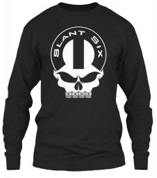 Slant Six Mopar Skull Black Gildan 6.1oz Long Sleeve Tee $25.99