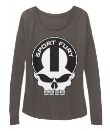 Sport Fury Mopar Skull Dark Grey Heather BELLA+CANVAS Women's  Flowy Long Sleeve Tee $43.99