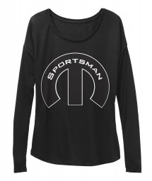 Sportsman Mopar M Black BELLA+CANVAS Women's  Flowy Long Sleeve Tee $43.99