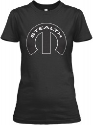 Stealth Mopar M Black Gildan Women's Relaxed Tee $21.99