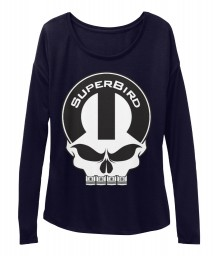 Superbird Mopar Skull Midnight BELLA+CANVAS Women's  Flowy Long Sleeve Tee $43.99