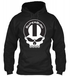 Superbird Mopar Skull Black Gildan 8oz Heavy Blend Hoodie $38.99