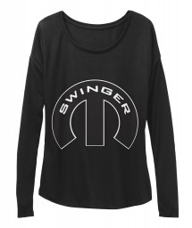 Swinger Mopar M Black BELLA+CANVAS Women's  Flowy Long Sleeve Tee $43.99