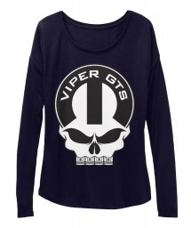Viper GTS Mopar Skull Midnight BELLA+CANVAS Women's  Flowy Long Sleeve Tee $43.99