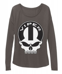 Viper Mopar Skull Dark Grey Heather  Women's  Flowy Long Sleeve Tee $43.99
