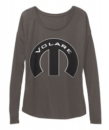 Volare Mopar M Dark Grey Heather BELLA+CANVAS Women's  Flowy Long Sleeve Tee $43.99